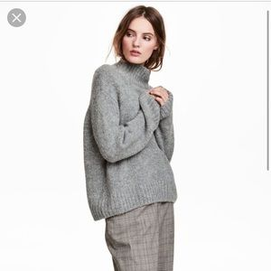 H&M Mohair Blend Light Grey Turtleneck Sweater